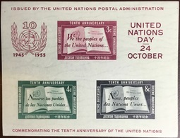 United Nations 1955 NY United Nations 10th Anniversary UN Day Minisheet MNH - Ongebruikt