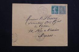 FRANCE  - Affranchissement Semeuses De Saint Hilaire / Rille Sur Enveloppe En 1908 Pour Paris - L 62149 - Storia Postale