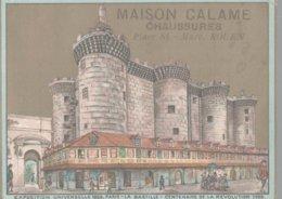 CHROMO FABRIQUE ET GRANDS MAGASINS DE CHAUSSURES  CALAME ROUEN  EXPOSITION UNIVERSELLE 1889 LA BASTILLE - Trade Cards