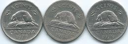 Canada - Elizabeth II - 5 Cents - 1975 (KM60.1) 1979 (KM60.2) 1986 (KM60.2a) - Canada