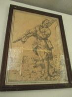 Lithographie - Gravure - Cadre -   Signé  Lt  Jean Droit  26 Cm Par 34 Cm - Armas De Colección