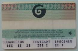 GERMANY / BELGIUM  - G&D - EUROCHEQUE Prototype - Test - Specimen - Generale De Banque - RRR - Carte Di Credito (scadenza Min. 10 Anni)