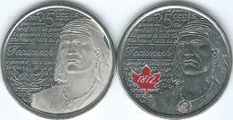 Canada - Elizabeth II - 25 Cents - 2012 - War Of 1812 - Tecumseh (KMs 1324 & 1324a) - Canada