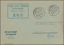 ZKD-Brief Rat Der Stadt ORLAMÜNDE 5.11.63 An Rat Des Kreises JENA 5.11.63 - [6] Democratic Republic