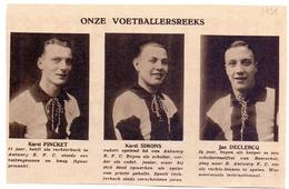 Orig Knipsel Coupure Magazine Tijdschrift - Voetbal - Spelers RFC Antwerp - Pincket, Simons, Declercq - Antwerpen - 1931 - Unclassified