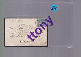 1  Timbre 20 C  :sur Une  Enveloppe (pas De Courrier)  Libourne   Année 1870  Destination Royan - 1849-1876: Période Classique