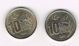 -&  TURKIJE  2 X 10 BIN  LIRA   1996/97 - Turchia