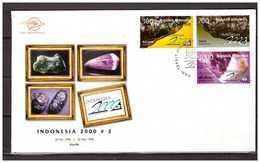 Indonesia 1998 FDC Gemstones Amethyst Chrysopal Tektite - Indonesia