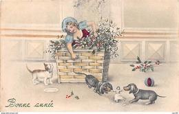 Nouvel An - N°66703 - V.K.Vienne N°5134 - Fillette Sortant D'un Panier Regardant Des Teckels Jouant - Neujahr