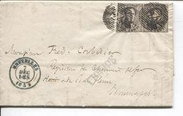 REF1321/ TP 6 (2) S/LAC Obl.à Barre 24 + C.Bruxelles 7/12/1853 > Jemmapes C.d'arrivée 8/12/1856 Très Propre - Marcophilie