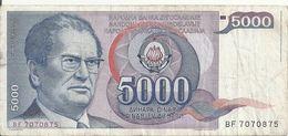 YOUGOSLAVIE 5000 DINARA 1985 VF P 93 - Yugoslavia