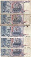 YOUGOSLAVIE 5000 DINARA 1985 VG+ P 93 ( 5 Billets ) - Yugoslavia