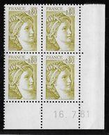 France N°1971 - Sabine De Gandon - Bloc De 4 Coin Daté - Neuf ** Sans Charnière - TB - 1977-81 Sabine De Gandon
