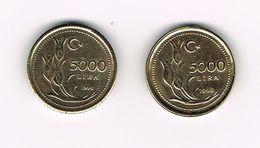 -&  TURKIJE 2 X 5.000  LIRA   1995/96 - Turchia