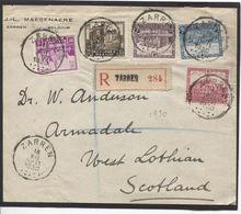 REF1322/ TP 308-309-310-312-313 Surtaxe S/devant De Lettre Recommandée Voorzijdebrief C.Zarren 18/12/1930 > Scotland - Belgique