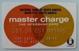 USA - Credit Card - Master Charge - National Bank South Dakota Rapid City - Interbank - Exp 02/76 - VF Used - R - Carte Di Credito (scadenza Min. 10 Anni)