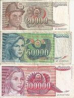 YOUGOSLAVIE 1987-88-89 VF P 95 A 97 ( 3 Billets Diff ) - Yugoslavia