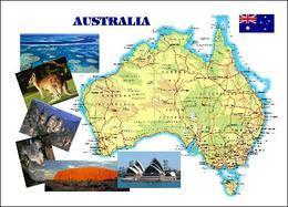 Australia Country Map New Postcard Australien Landkarte AK - Otros