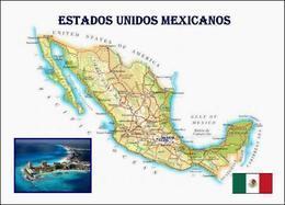 Mexico Country Map New Postcard Mexiko Landkarte AK - Messico