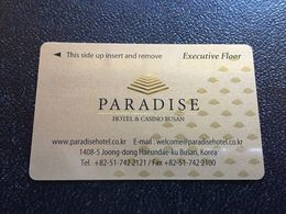 Hotelkarte Room Key Keycard Clef De Hotel Tarjeta Hotel  PARADISE HOTEL & CASINO BUSAN KOREA - Télécartes