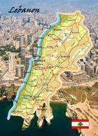 Lebanon Country Map New Postcard Libanon Landkarte AK - Lebanon