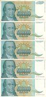 YOUGOSLAVIE  500000 DINARA 1993 VF P 131 ( 5 Billets ) - Yugoslavia