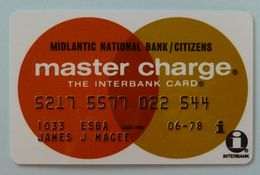 USA - Credit Card - Master Charge - Midlantic National Bank / Citizens - Interbank - Exp 06/78 - R - Carte Di Credito (scadenza Min. 10 Anni)