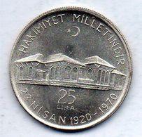 TURKEY, 25 Lira, Silver, Year 1970, KM #897 - Turchia