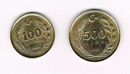 -&  TURKIJE  100 En 500  LIRA  1989/91 - Turchia