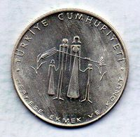 TURKEY, 50 Lira, Silver, Year 1977, KM #912 - Turchia