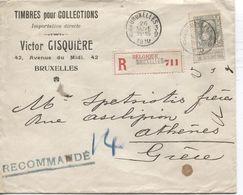 REF1323/ TP 78 GB S/L.recommandée C.Bruxelles 3/9 26/11/1910 V.Gisquière Timbre Collection > Grèce Athènes - 1905 Grosse Barbe