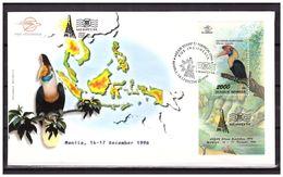 Indonesia 1996 FDC Bird Map Stamp Exhibition Manila S/S - Indonesia