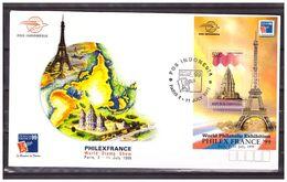 Indonesia 1999 FDC Stamp Exhibition Paris Eifel Tower S/S - Indonesia