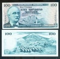 Iceland 100 Kronur 1961 Pick 44 AUNC Sign4 - Island
