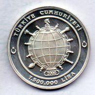 TURKEY, 7.500.000 Lira, Silver, Year 2000, KM #1101 - Turchia