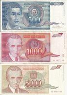 YOUGOSLAVIE  VF  ( 3 Billets Diff ) - Yugoslavia