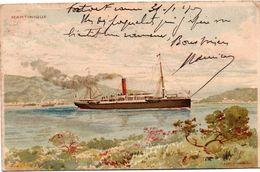 Martinique 1907 - Paysage Avec Paquebot - Scan Recto-verso Avec Timbre - Lessieux Vanneau - Martinique