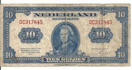 PAYS-BAS 10 GULDEN 1943 VG+ P 66 - [2] 1815-… : Koninkrijk Der Verenigde Nederlanden