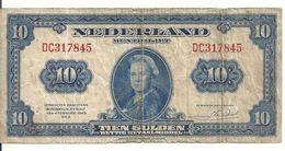 PAYS-BAS 10 GULDEN 1943 VG+ P 66 - [2] 1815-… : Kingdom Of The Netherlands