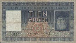 PAYS-BAS 10 GULDEN 1939 VG+ P 49 - [2] 1815-… : Koninkrijk Der Verenigde Nederlanden