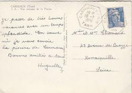 Yvert 812 Gandon Rare Cachet Hexagonal CARMAUX CP N° 6  Tarn 10/1/1951 Carte Postale Vue Aérienne Piscine - Marcophilie (Lettres)