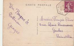 Yvert 139 Semeuse Cachet Hexagonal CATTENOM Moselle Carte Postale Thionville ( Froissures ) - Storia Postale