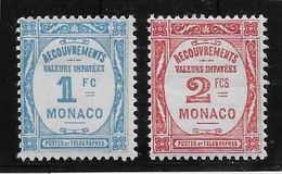 Monaco Taxe N°27/28 - Neuf * Avec Charnière - TB - Postage Due