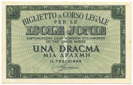 1 DRACMA OCCUPAZIONE ITALIANA DELLA GRECIA ISOLE JONIE APRILE 1942 SUP - Altri