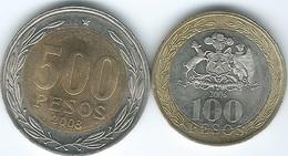 Chile - 2006 - 100 Pesos (KM236) & 2008 - 500 Pesos (KM235) - Chile