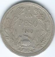 Chile - 1940 - 1 Peso - KM176.2 - O. Roty Signature On Rock - Scarce - Chile