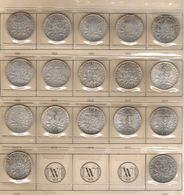 FRANCE Monnaies Lot De 17 Pièces 2 Francs Semeuse Argent Millésimes 1901 à 1920 Complet Avec 1914 C - France