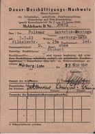 ! 1946 Dauer Beschäftigung Nachweis, Meldekarte Marburg / Lahn - Historische Dokumente