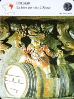 COLMAR - Foire Aux Vins D'Alsace & Confréries- Photo Détail Tonnelet Sculpté - FICHE GEOGRAPHIQUE - Ed. Larousse-Laffont - Art Populaire