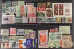 INTERESTING AND UNUSUAL ARRAY IN AN OLD AUCTION FOLDER Worldwide Philatelic Curiosities Displayed On About Twenty Stockc - Postzegels